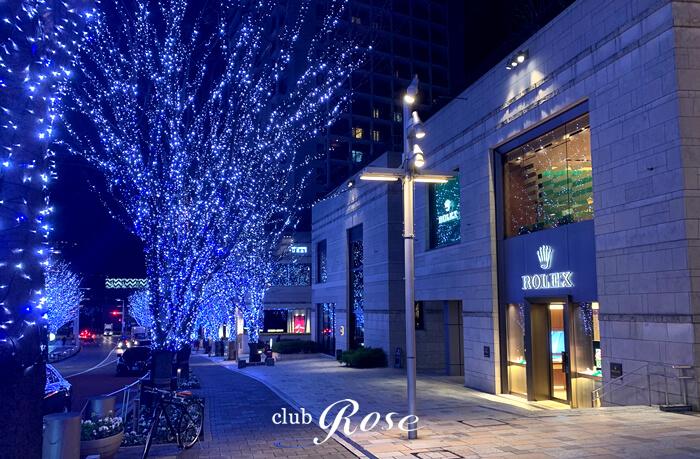 冬期間に美しいイルミネーション演出の六本木けやき坂の近くにクラブ・ローゼはあります。